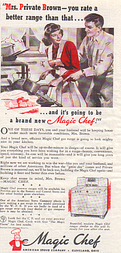 1944 WWII PRIVATE BROWN - Wife Magic Chef AD (Image1)