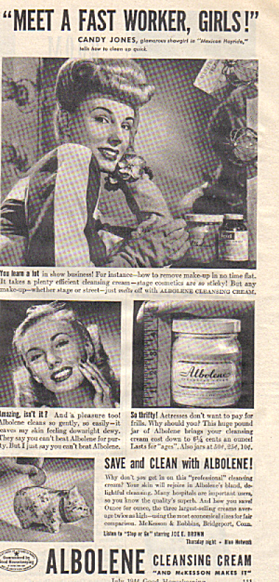 1944 CANDY JONES Showgirl Albolene Cream AD (Image1)