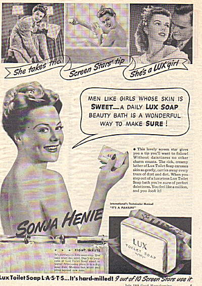 1944 SONJA HENIE Lux Soap Bathing AD (Image1)