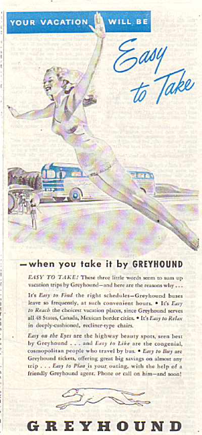 1947 Greyhound Bus AD Woman Diving Easy Trip (Image1)