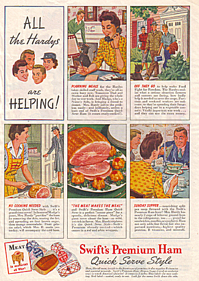 1944 Swift's Premium Ham Ad Hardy Family Wwii
