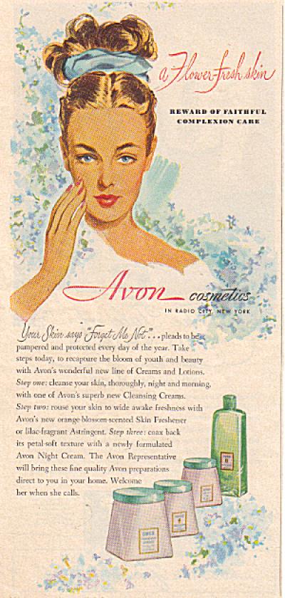 1947 Avon FLOWER FRESH SKIN Cosmetic AD (Image1)