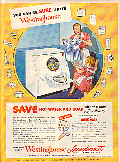 1949 Westinghouse LAUNDROMAT Wash Dryer AD (Image1)