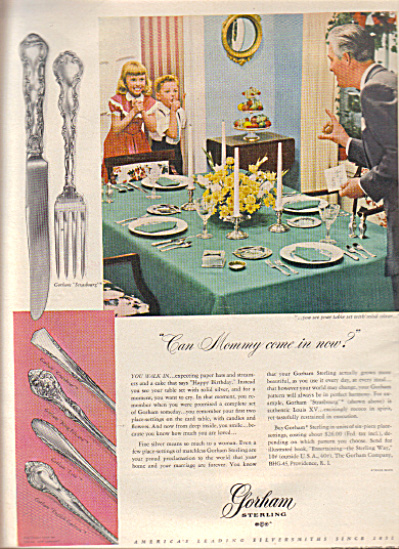 1949 GORHAM Sterling Silverware Silver AD (Image1)