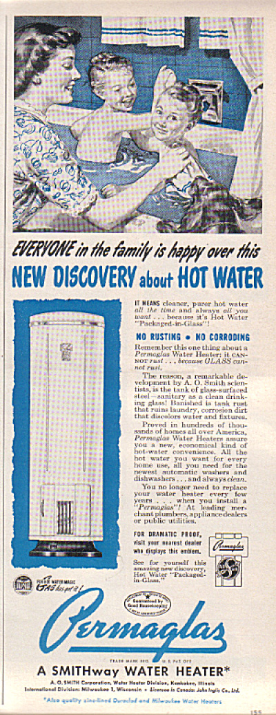 1949 Permaglas Hot Water Heater Kids  Tub Ad (Image1)