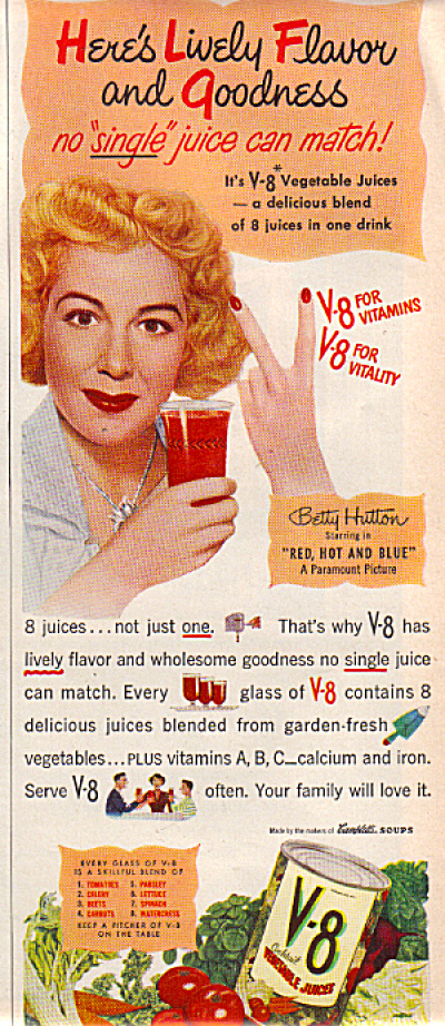 1949 V8 BETTY HUTTON AD Red Hot Blue (Image1)