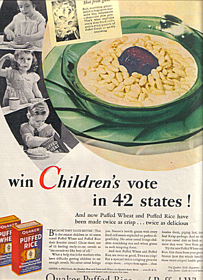 1932 Quaker Puffed Rice KIDS VOTE in 42 STATE (Image1)