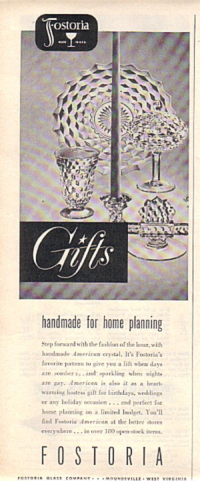 1949 FOSTORIA AMERICAN Pattern Glass AD (Image1)