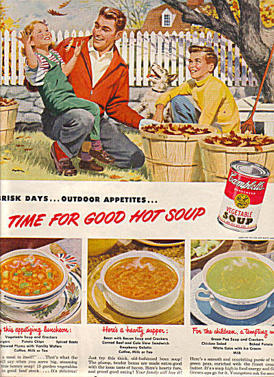 1949 Campbell's SOUP Dad Kids Raking Leaves A (Image1)
