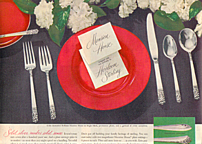 1949 Oneida Heirloom MANSION HOUSE Silver AD (Image1)
