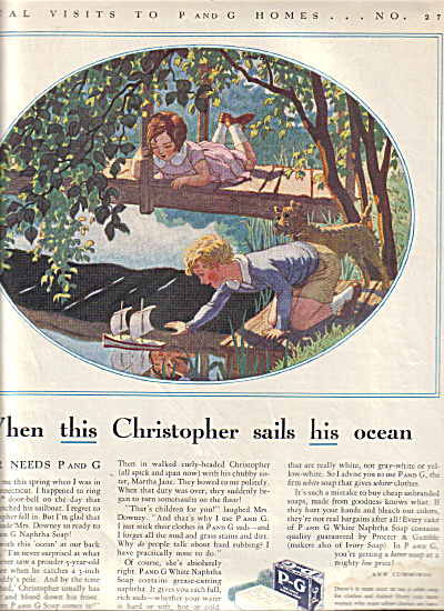 1932 Proctor Gamble Boy Girl Sailboat PRINTAD (Image1)