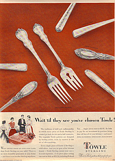 1949 TOWLE AD Silver French Provincial ++ (Image1)