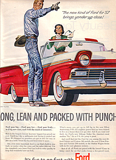 1957 FORD Fairlane COWBOY Long Lean Car AD (Image1)
