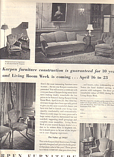 1932 KARPEN FURNITURE Vintage DÉCOR AD (Image1)