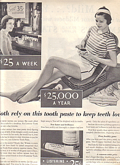 1932 Listerine Fashion Model Tooth Paste AD (Image1)