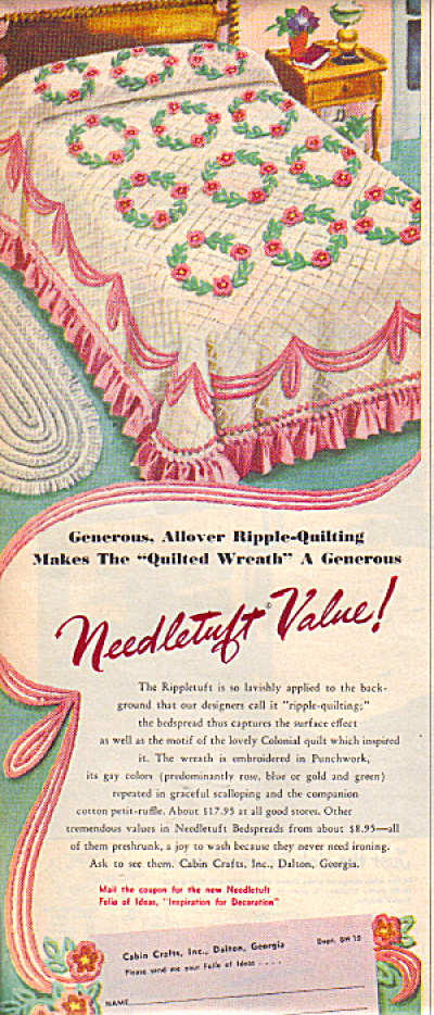 1950's Needletuft Chenille Quilted Wreath Ad