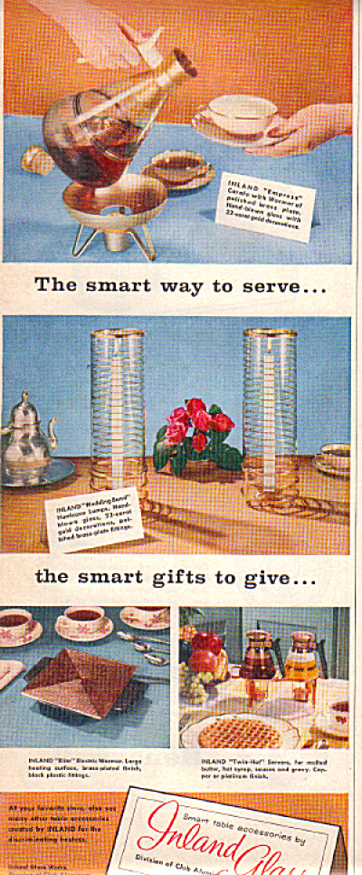 1956 INLAND GLASS Carafe Hurricane Lamps AD (Image1)