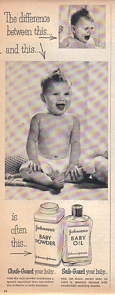 1956 Johnson's Baby Powder Baby in Diaper AD (Image1)