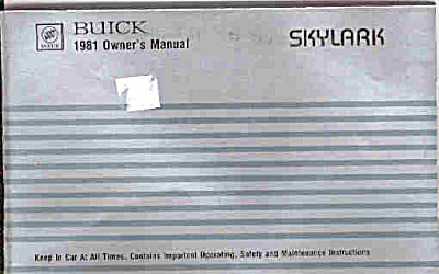1981 Buick SKYLARK Owners Manual ORIG (Image1)