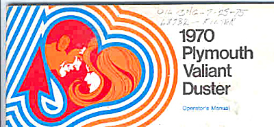 1970 Plymouth DUSTER VALIANT Owners MANUAL (Image1)