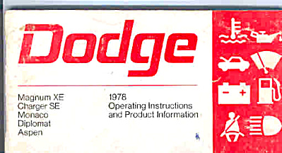 1978 DODGE Charger and more OWNERS MANUAL (Image1)