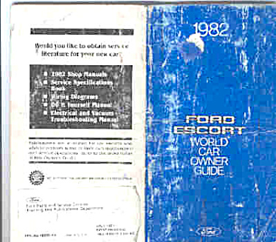 1982 Ford ESCORT World Car Owners Manual (Image1)