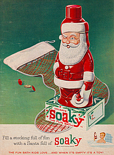 1962 Soaky Toy Colgate Santa Claus Bath Ad