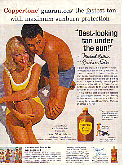 1964 BARBARA EDEN Coppertone Suntan AD (Image1)