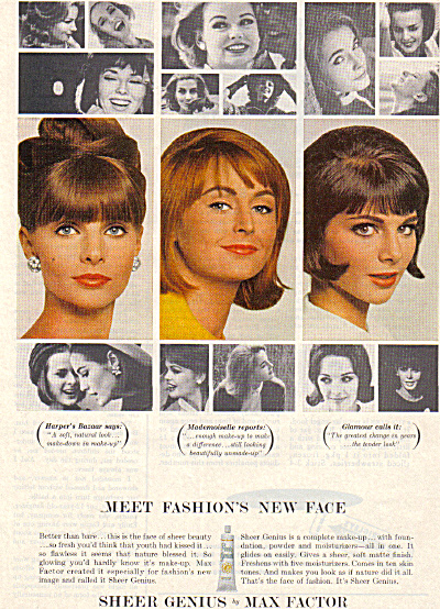 1964 MAX FACTOR Sheer Genius MODELS AD (Image1)
