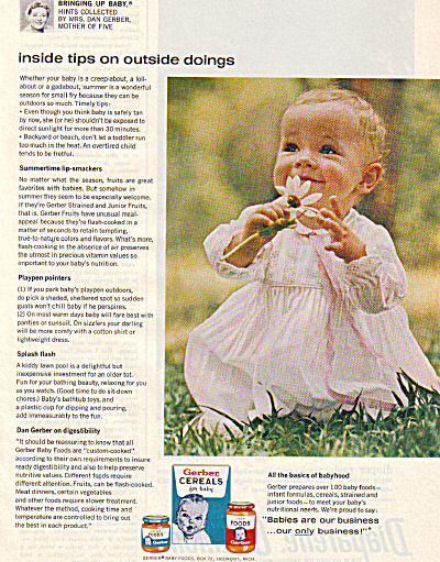 1964 Gerber Baby Food Girl - Daisy Smiling Ad
