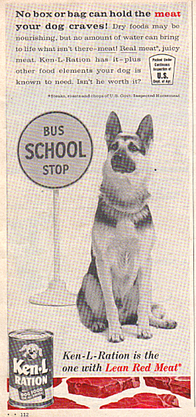 1961 Ken L Ration GERMAN SHEPHERD Bus Stop AD (Image1)