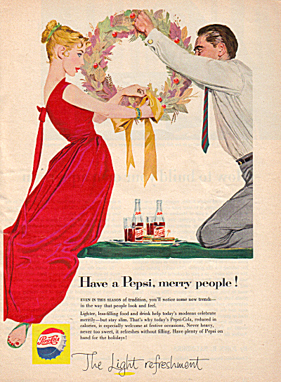 1957 Pepsi MERRY CHRISTMAS Couple Wreath AD (Image1)