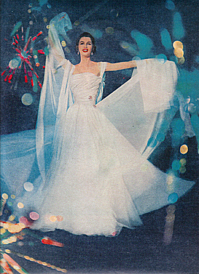 1957 MODESS … because 2 pg WHITE Gown Lady AD (Image1)