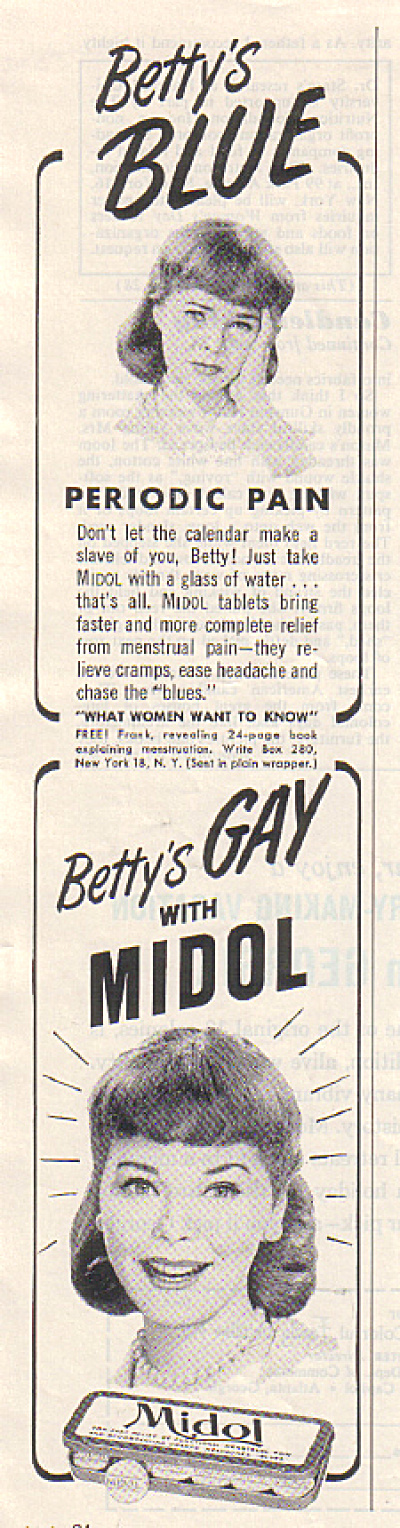 1962 BETTY is BLUE - Betty is GAY Midol AD (Image1)