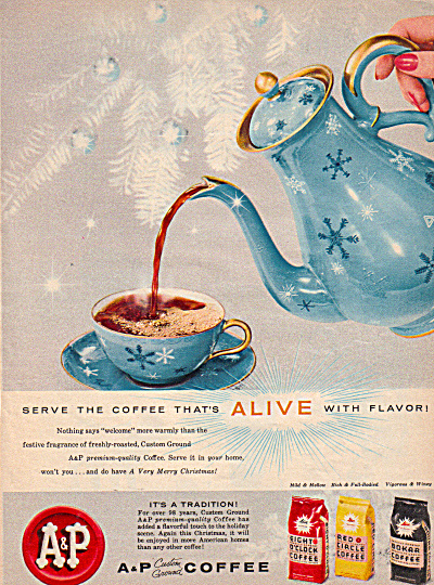 1957 A and P Coffee Aqua SNOWFLAKE Service AD (Image1)