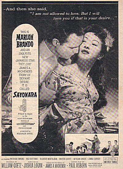 1957 SAYONARA Marlon Brando Original MOVIE AD (Image1)