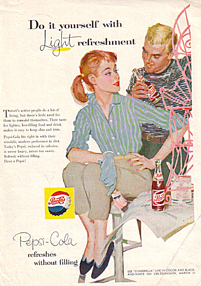 1957 Pepsi Cola Man Woman Painting PINK AD (Image1)