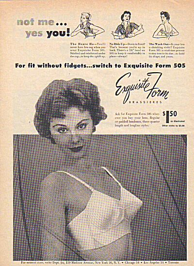 1954 Exquisite Form Madonna Pointed Bra Ad