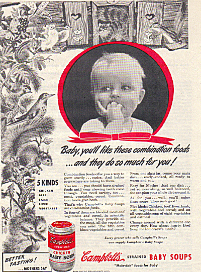 1947 Campbell's BABY Animals SOUP Strained AD (Image1)