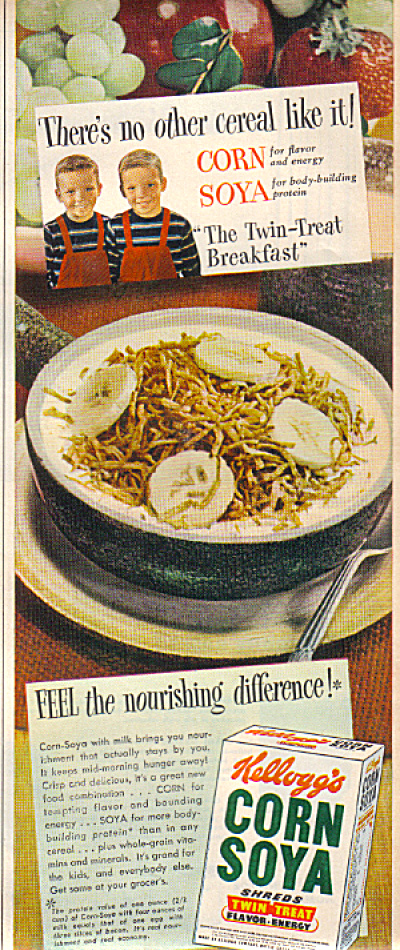 1949 Kellog's Corn Soya TWIN TREAT Cereal AD (Image1)