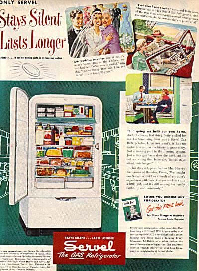 1949 Servel Gas Refrigerator STAYS SILENT AD (Image1)