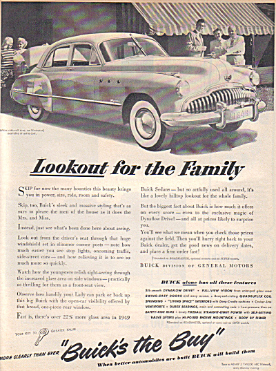 1949 BUICK's the BUY Buick CAR AD Lookout (Image1)