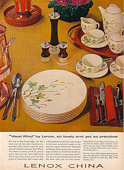 1957 LENOX West Wind Dinnerware Pattern AD (Image1)