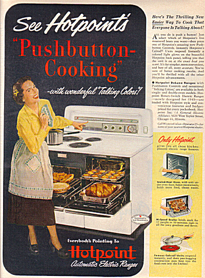 1949 Hotpoint PUSHBUTTON Cooking Stove AD (Image1)