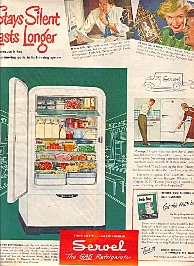 1949 Servel Gas Refrigerator STAYS SILENT AD #2 (Image1)