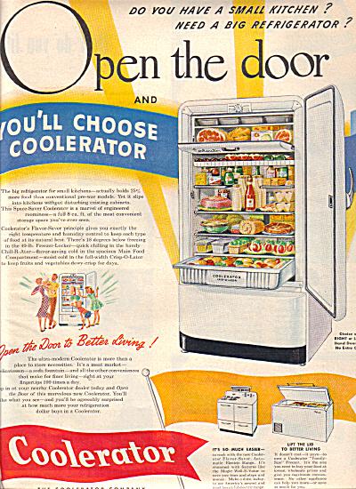 1949 COOLERATOR Refrigerator Living AD (Image1)