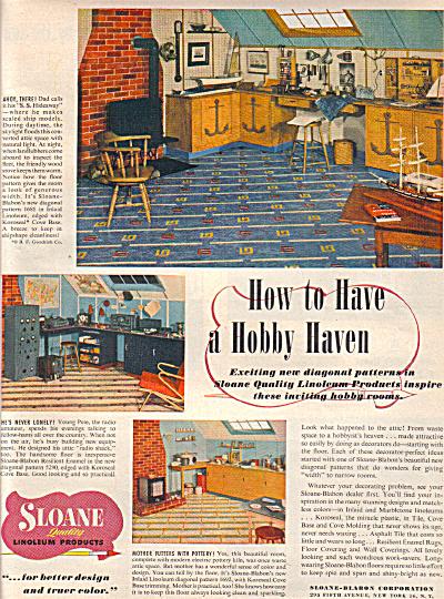 1949 Sloane Linoleum Hobby Haven Tile Ad (Image1)