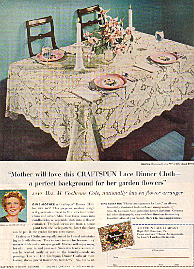 1949 Craftspun TRENTON Lace Tablecloth AD (Image1)