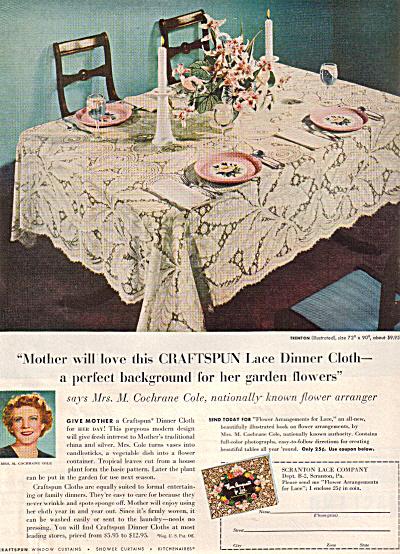 1949 Craftspun TRENTON Lace Tablecloth AD (Image1)