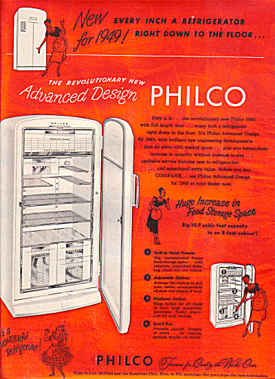 1949 PHILCO Refrigerator Orange AD (Image1)